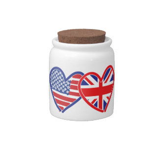 American Flag Union Jack Flag Hearts Candy Jars