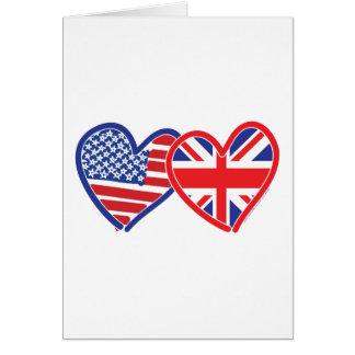 American Flag/Union Jack Flag Hearts Card