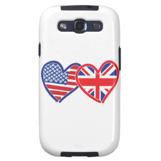 American Flag Union Jack Flag Hearts Galaxy S3 Covers