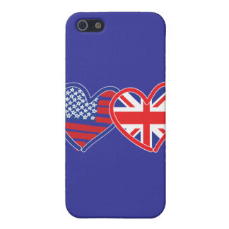 American Flag/Union Jack Flag Hearts Case For iPhone SE/5/5s