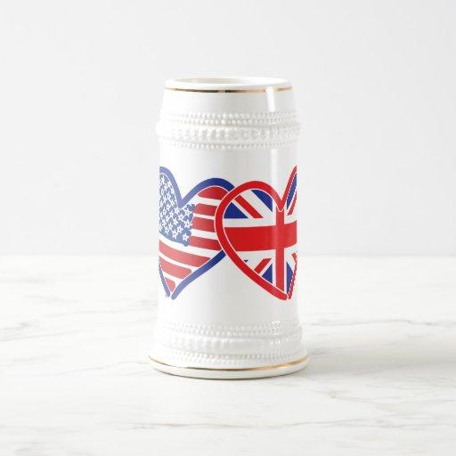 American Flag/Union Jack Flag Hearts Coffee Mug