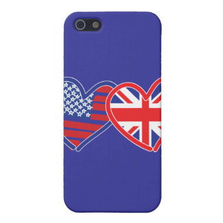 American Flag/Union Jack Flag Hearts Cover For iPhone SE/5/5s