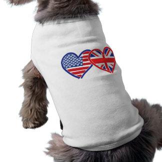 American Flag/Union Jack Flag Hearts Doggie Tshirt