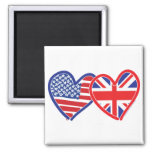 American Flag/Union Jack Flag Hearts Fridge Magnet