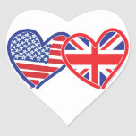American Flag/Union Jack Flag Hearts Heart Sticker
