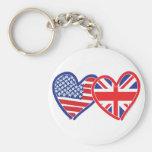 American Flag/Union Jack Flag Hearts Key Chains