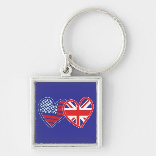 American Flag/Union Jack Flag Hearts Keychain