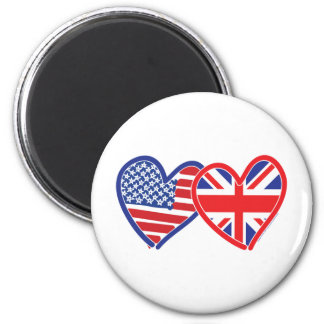 American Flag/Union Jack Flag Hearts 2 Inch Round Magnet