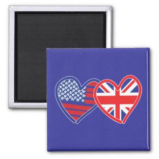 American Flag/Union Jack Flag Hearts Magnet