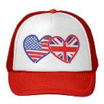 American Flag/Union Jack Flag Hearts Mesh Hat