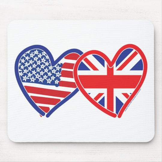 American Flag/Union Jack Flag Hearts Mouse Pad