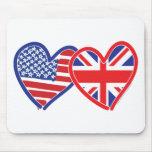 American Flag/Union Jack Flag Hearts Mousepads