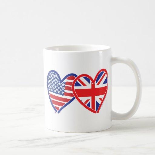 American Flag Union Jack Flag Hearts Mug