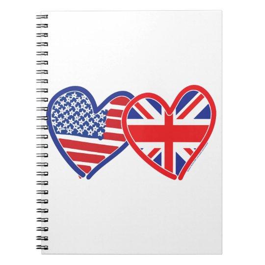 American Flag Union Jack Flag Hearts Notebook