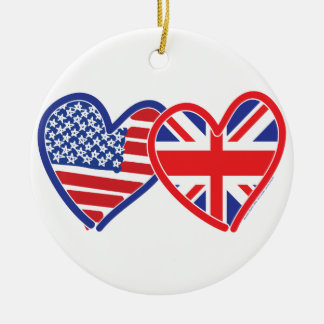 American Flag Union Jack Flag Hearts Double-Sided Ceramic Round Christmas Ornament