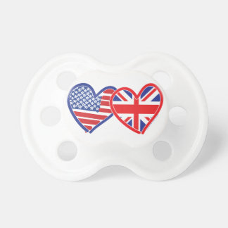 American Flag Union Jack Flag Hearts Baby Pacifier