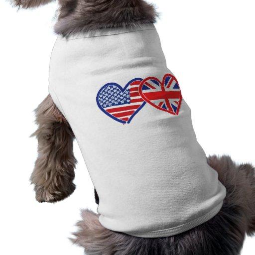 American Flag/Union Jack Flag Hearts Pet Clothes