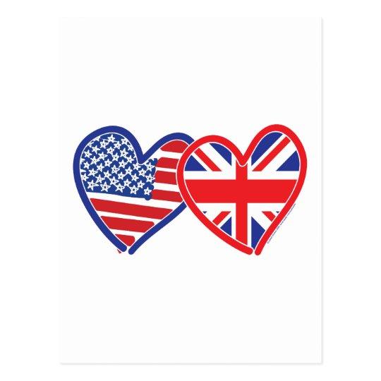 American Flag/Union Jack Flag Hearts Postcard