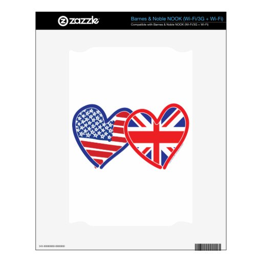 American Flag Union Jack Flag Hearts Skins For The NOOK