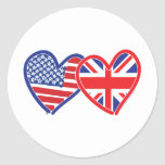 American Flag/Union Jack Flag Hearts Classic Round Sticker