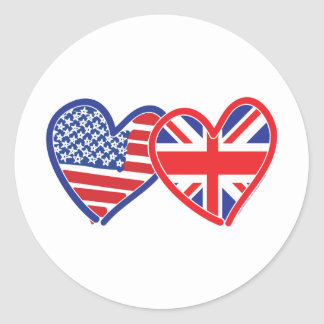 American Flag/Union Jack Flag Hearts Round Sticker