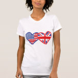 American Flag/Union Jack Flag Hearts T Shirts