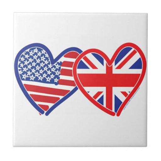 American Flag Union Jack Flag Hearts Tiles