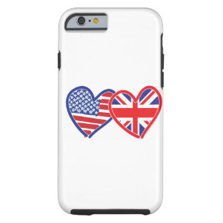 American Flag Union Jack Flag Hearts Tough iPhone 6 Case