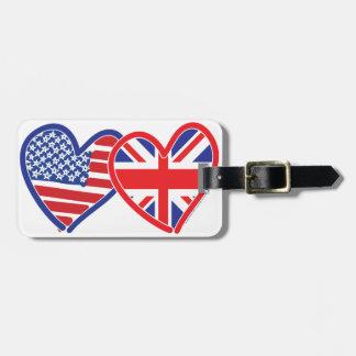 American Flag Union Jack Flag Hearts Travel Bag Tag