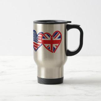American Flag/Union Jack Flag Hearts Travel Mug