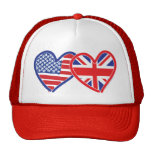 American Flag/Union Jack Flag Hearts Trucker Hat