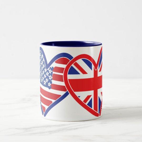 American Flag/Union Jack Flag Hearts Two-Tone Coffee Mug