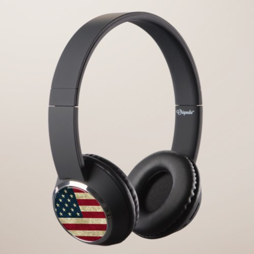 American Flag United States United Kingdom UK Flag Headphones