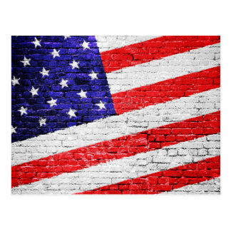 American Flag Urban Art Postcard