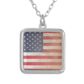 American Flag, US grunge patriotism (USA) Personalized Necklace