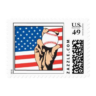 american flag USA baseball Postage