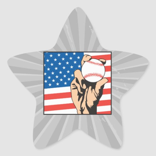 american flag USA baseball Star Sticker