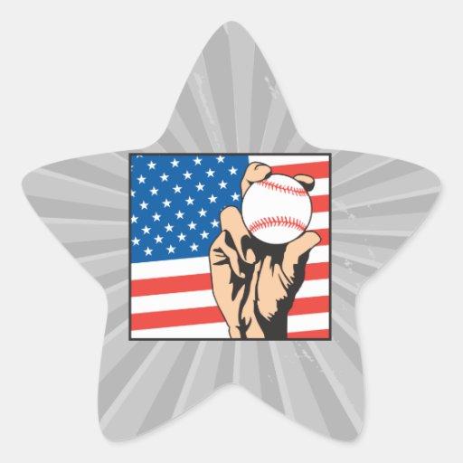 american flag USA baseball Sticker
