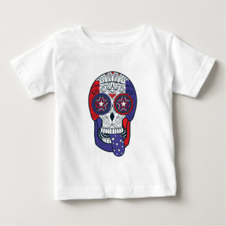 American Flag USA Colors Patriotic Sugar Skull Baby T-Shirt