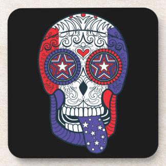 American Flag USA Colors Patriotic Sugar Skull Beverage Coaster