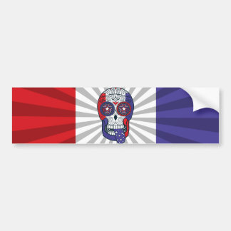 American Flag USA Colors Patriotic Sugar Skull Bumper Sticker