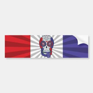 American Flag USA Colors Patriotic Sugar Skull Bumper Sticker
