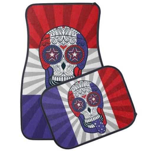 American Flag USA Colors Patriotic Sugar Skull Car Mat