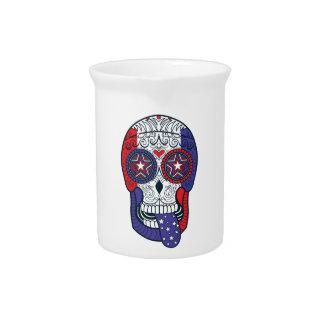 American Flag USA Colors Patriotic Sugar Skull Drink Pitcher