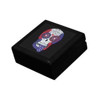 American Flag USA Colors Patriotic Sugar Skull Jewelry Box