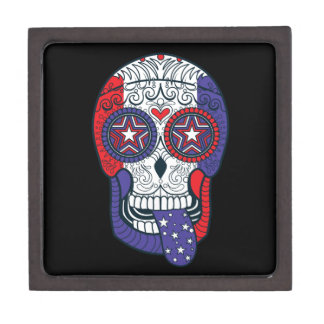 American Flag USA Colors Patriotic Sugar Skull Keepsake Box