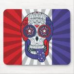 American Flag Usa Colors Patriotic Sugar Skull Mouse Pad at Zazzle