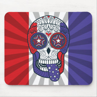 American Flag USA Colors Patriotic Sugar Skull Mouse Pad