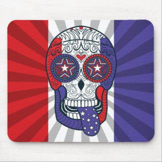 American Flag USA Colors Patriotic Sugar Skull Mouse Pad