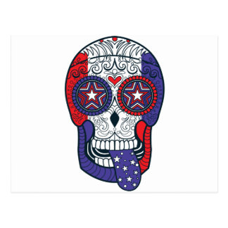 American Flag USA Colors Patriotic Sugar Skull Postcard